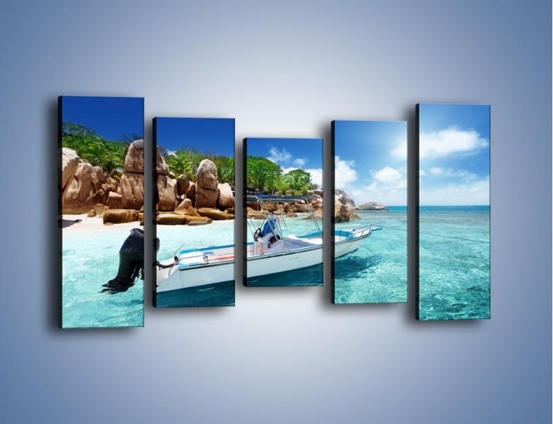 Obraz na płótnie – Błękit w wodzie i niebie – pięcioczęściowy KN852W2