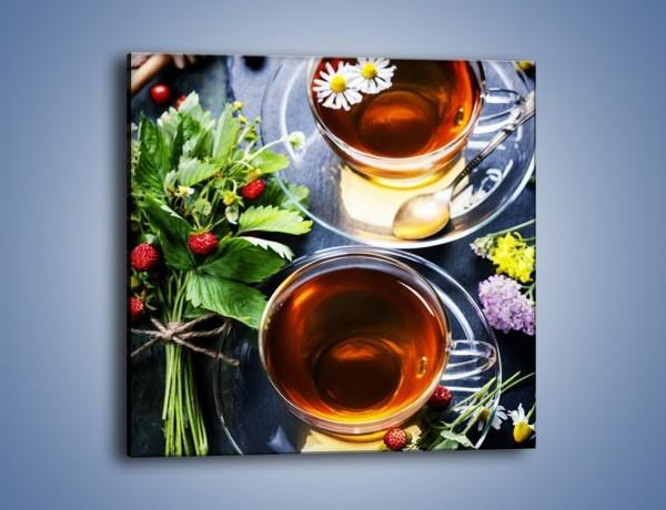 Obraz na płótnie – Herbata otoczona kwiatami – jednoczęściowy kwadratowy JN732