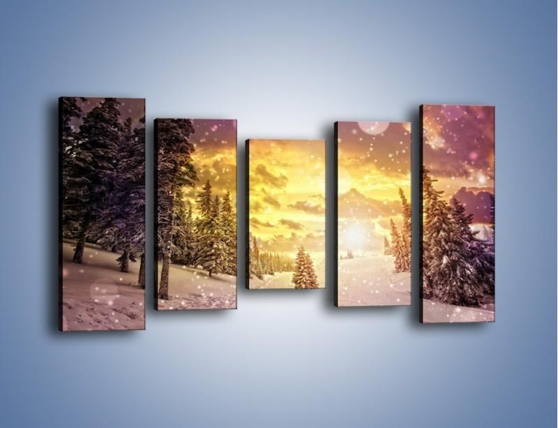 Obraz na płótnie – Śnieżna kraina – pięcioczęściowy KN868W2