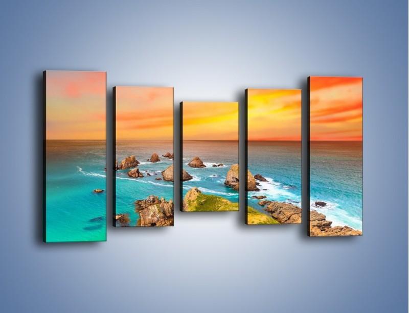 Obraz na płótnie – Kolory rozpalonego nieba nad wodą – pięcioczęściowy KN879W2