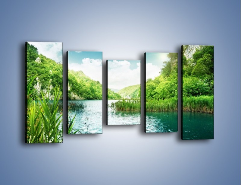 Obraz na płótnie – Wodnym śladem wśród zieleni – pięcioczęściowy KN884W2