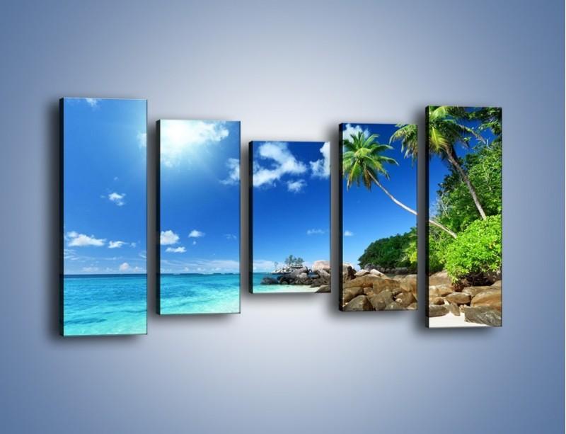 Obraz na płótnie – Rajska plaża i jej piękno – pięcioczęściowy KN963W2