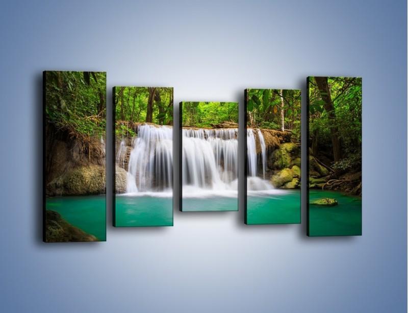 Obraz na płótnie – Kąpiel w środku lasu – pięcioczęściowy KN995W2