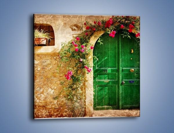 Obraz na płótnie – Drzwi w greckim domu vintage – jednoczęściowy kwadratowy AM192