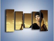 Obraz na płótnie – Czarna dama w paryżu – pięcioczęściowy L114W2