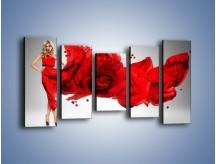 Obraz na płótnie – Czerwona róża i kobieta – pięcioczęściowy L144W2