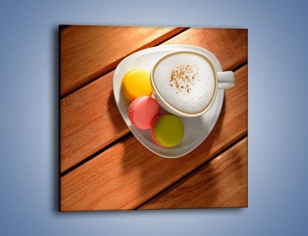 Obraz na płótnie – Makaroniki w towarzystwie kawy – jednoczęściowy kwadratowy JN737