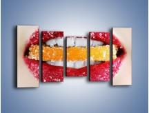 Obraz na płótnie – Cytrusy w słodkich ustach – pięcioczęściowy L207W2