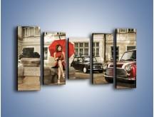 Obraz na płótnie – Damski świat z dodatkiem czerwonego – pięcioczęściowy L242W2