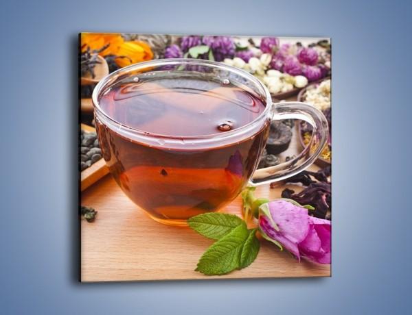 Obraz na płótnie – Herbata wśród suszonych kwiatów – jednoczęściowy kwadratowy JN740