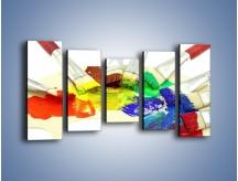 Obraz na płótnie – Kolory pędzlem malowane – pięcioczęściowy O046W2