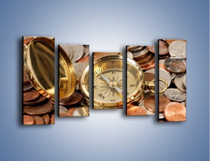 Obraz na płótnie – Kompas zatopiony w monetach – pięcioczęściowy O089W2