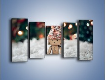 Obraz na płótnie – Mały ludek zimową porą – pięcioczęściowy O166W2