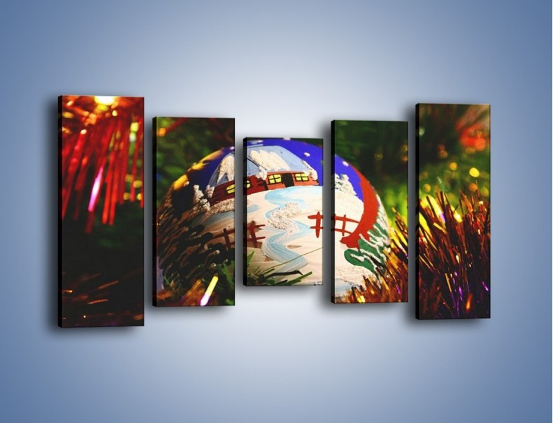 Obraz na płótnie – Bombka ręcznie malowana – pięcioczęściowy O168W2