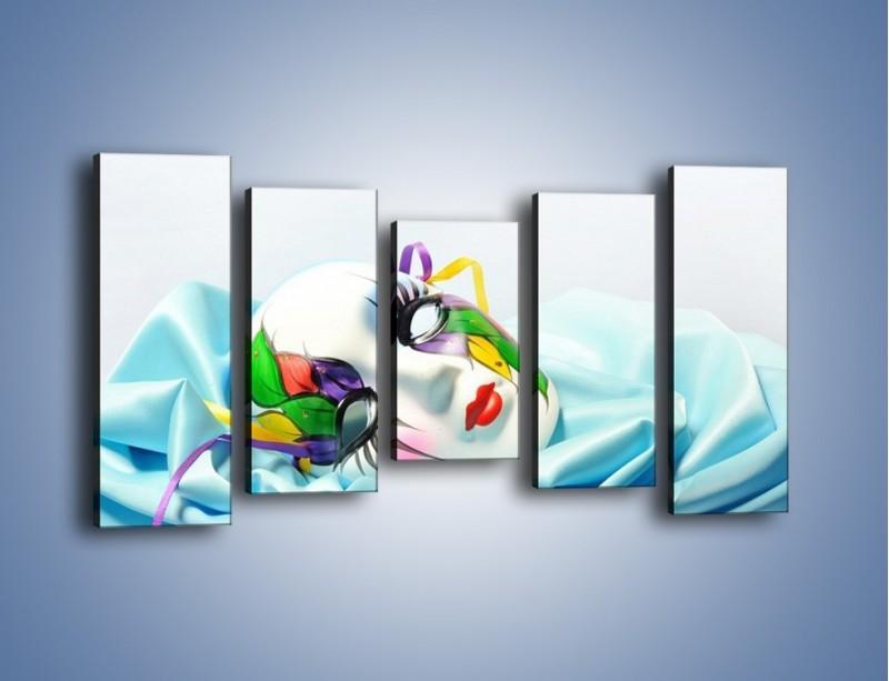 Obraz na płótnie – Kolorowa maska na błękicie – pięcioczęściowy O180W2