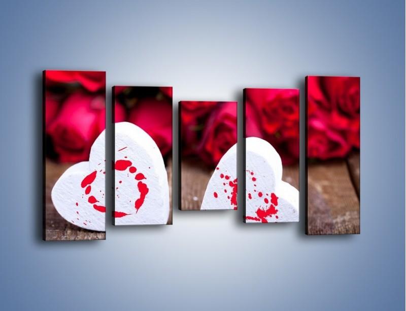 Obraz na płótnie – Dwa idealnie pasujące serca – pięcioczęściowy O211W2
