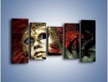 Obraz na płótnie – Maska pełna tajemnicy – pięcioczęściowy O252W2
