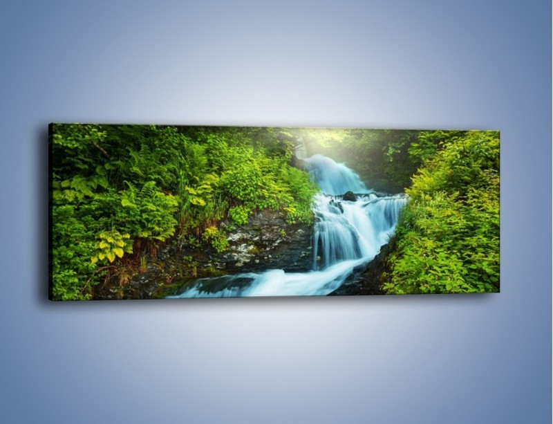 Obraz na płótnie – Spływ wodny i zieleń – jednoczęściowy panoramiczny KN1069