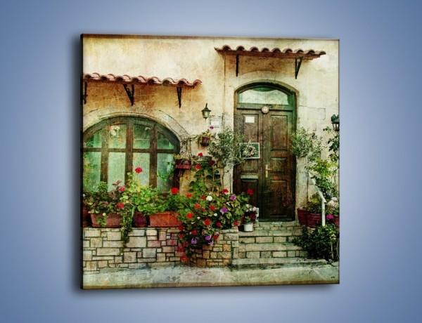 Obraz na płótnie – Domek w starej części miasta – jednoczęściowy kwadratowy AM193