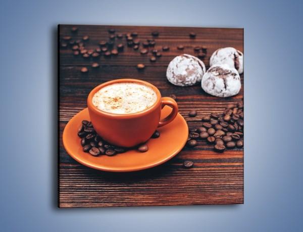 Obraz na płótnie – Kawa w pomarańczowej filiżance – jednoczęściowy kwadratowy JN756