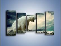 Obraz na płótnie – Donośny krzyk polarnego niedźwiedzia – pięcioczęściowy Z114W2