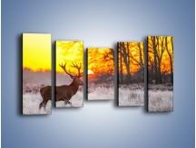 Obraz na płótnie – Jeleń o zachodzie słońca – pięcioczęściowy Z164W2