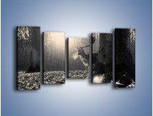 Obraz na płótnie – Jeleń w sepii – pięcioczęściowy Z250W2