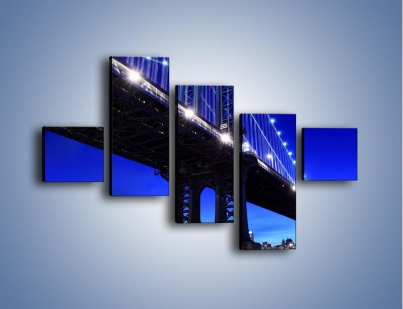 Obraz na płótnie – Oświetlony most wieczorem – pięcioczęściowy AM003W3
