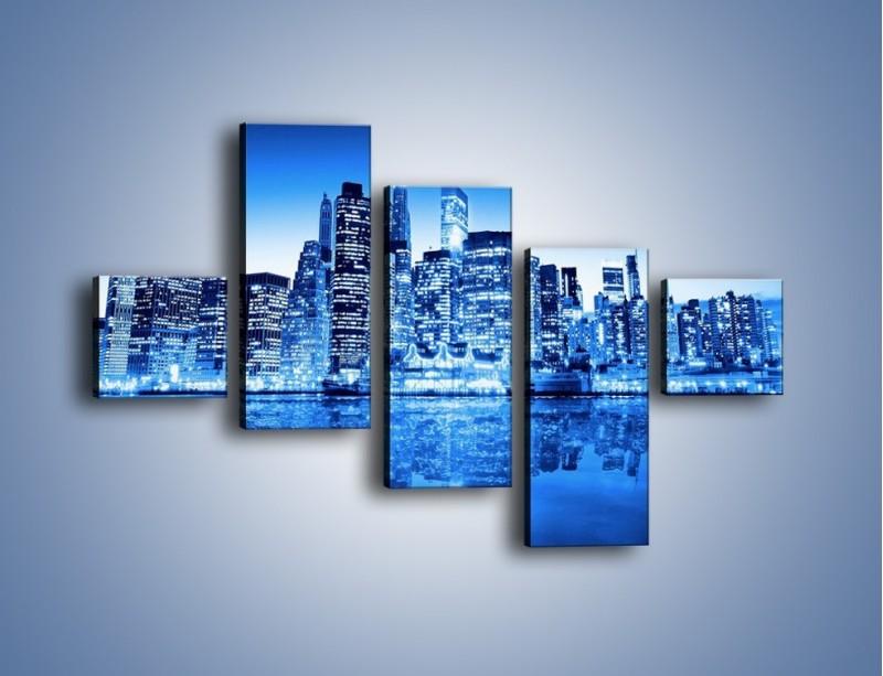 Obraz na płótnie – Odbicie miasta w tafli wody – pięcioczęściowy AM004W3
