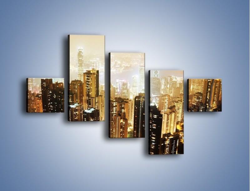 Obraz na płótnie – Miasto widziane z góry – pięcioczęściowy AM007W3