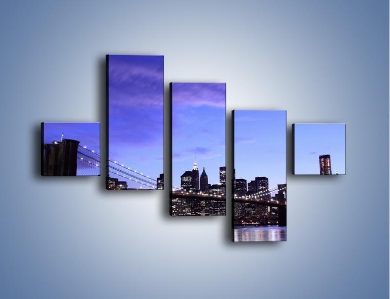 Obraz na płótnie – Most Brookliński przed zmierzchem – pięcioczęściowy AM016W3