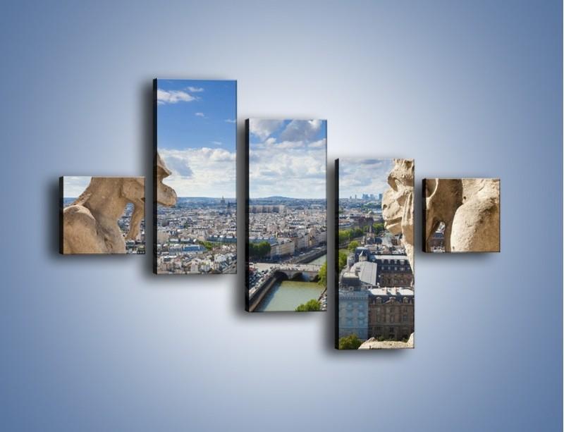 Obraz na płótnie – Kamienne gargulce nad Paryżem – pięcioczęściowy AM037W3