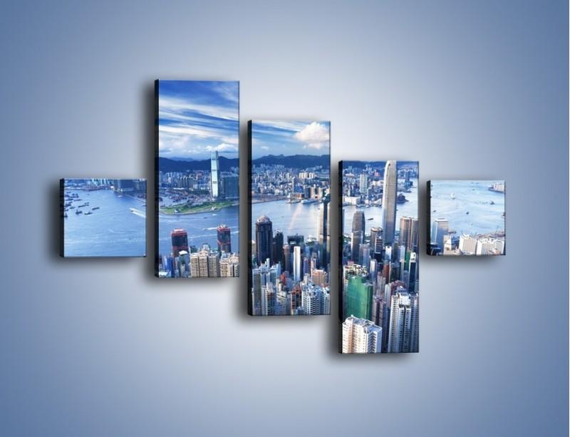 Obraz na płótnie – Miasto portowe o poranku – pięcioczęściowy AM050W3