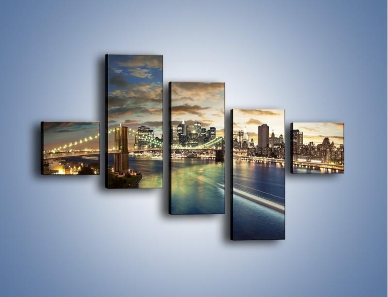 Obraz na płótnie – Oświetlony most w Nowym Jorku – pięcioczęściowy AM066W3