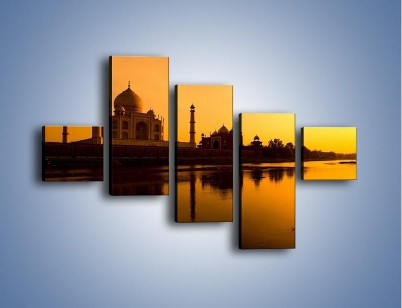 Obraz na płótnie – Taj Mahal o zachodzie słońca – pięcioczęściowy AM075W3