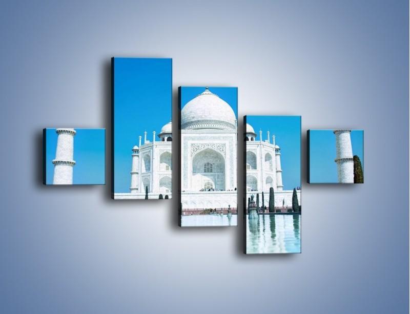 Obraz na płótnie – Taj Mahal pod błękitnym niebem – pięcioczęściowy AM077W3