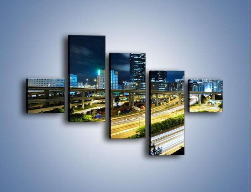 Obraz na płótnie – Przedmieście miasta wieczorem – pięcioczęściowy AM091W3