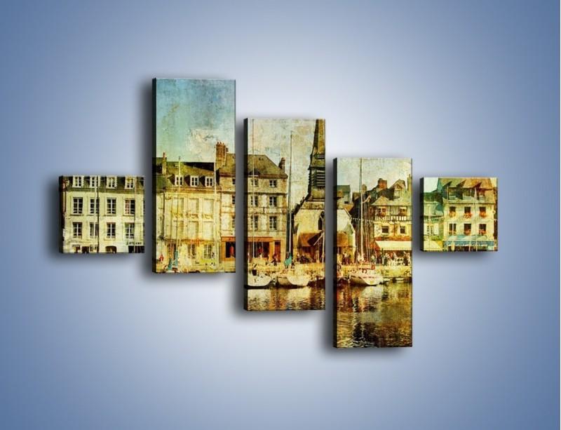 Obraz na płótnie – Łódki nad brzegiem miasteczka w stylu vintage – pięcioczęściowy AM108W3
