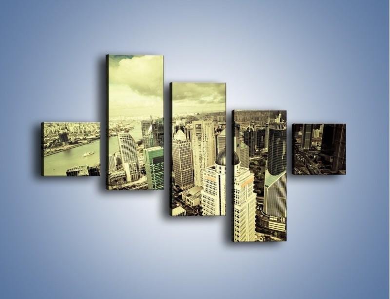 Obraz na płótnie – Ciemne chmury nad miastem – pięcioczęściowy AM130W3