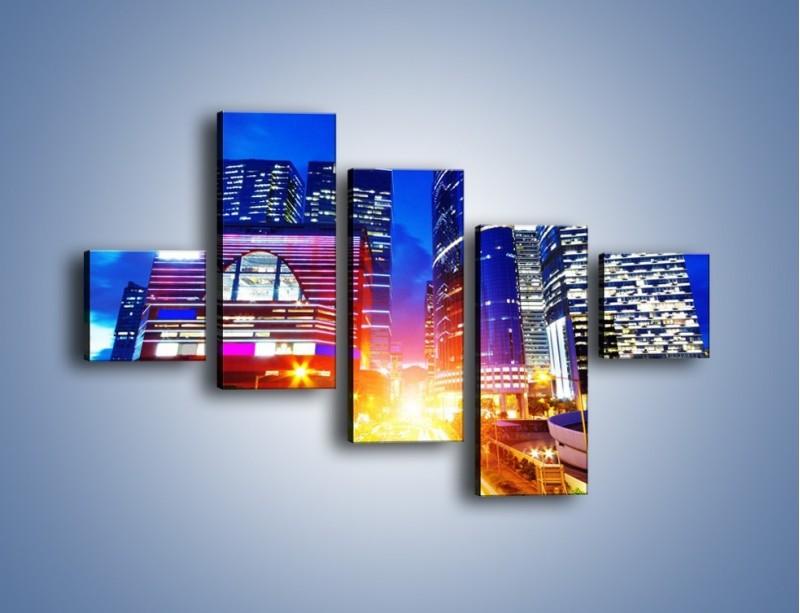 Obraz na płótnie – Miasto w żywych kolorach – pięcioczęściowy AM131W3