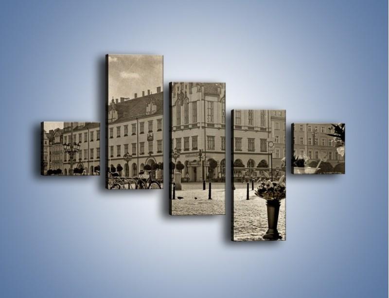 Obraz na płótnie – Rynek Starego Miasta w stylu vintage – pięcioczęściowy AM138W3