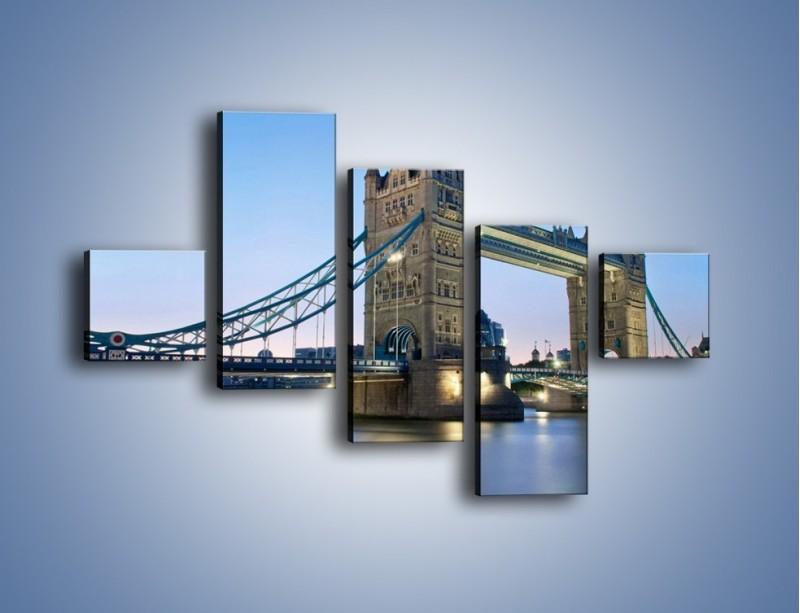 Obraz na płótnie – Tower Bridge o poranku – pięcioczęściowy AM143W3