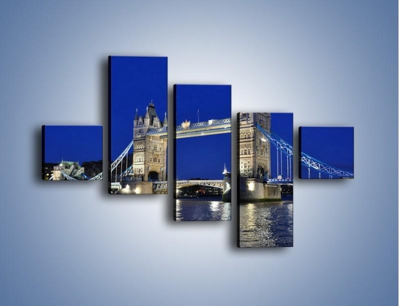 Obraz na płótnie – Tower Bridge nocą – pięcioczęściowy AM145W3