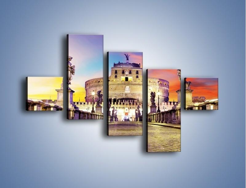 Obraz na płótnie – Zamek św. Anioła na tle kolorowego nieba – pięcioczęściowy AM156W3