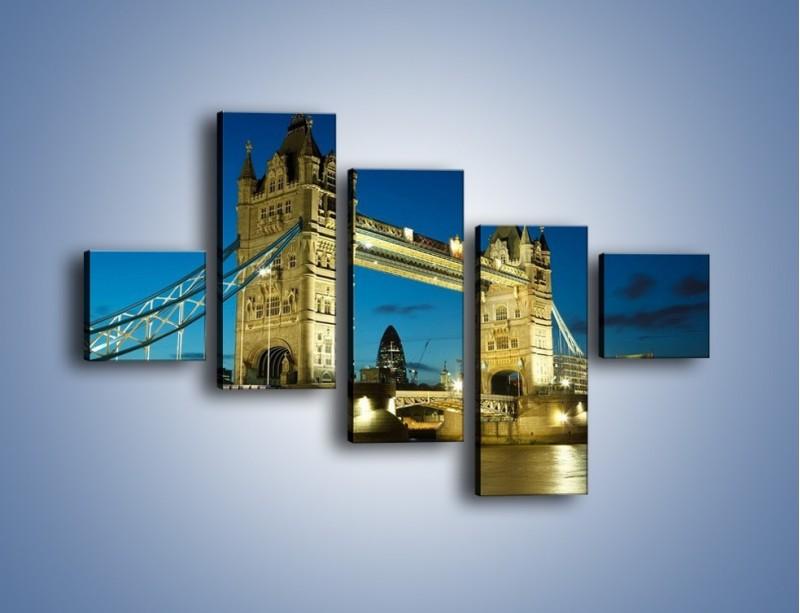 Obraz na płótnie – Tower Bridge wieczorową porą – pięcioczęściowy AM159W3