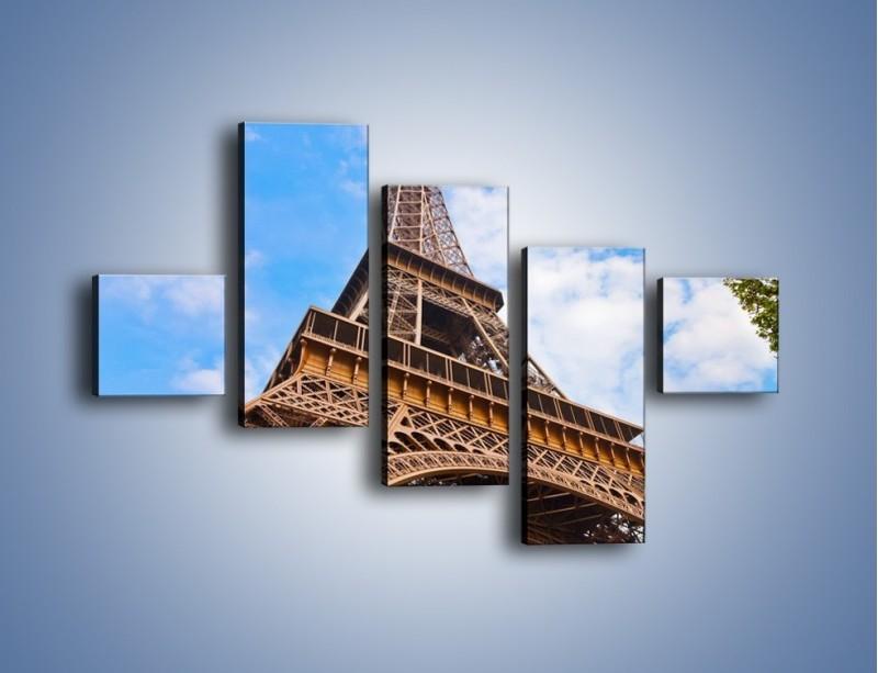 Obraz na płótnie – Wieża Eiffla pod chmurkami – pięcioczęściowy AM173W3