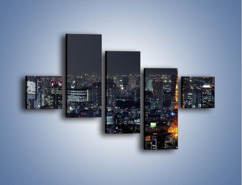 Obraz na płótnie – Rozświetlona Wieża Eiffla nocą – pięcioczęściowy AM174W3