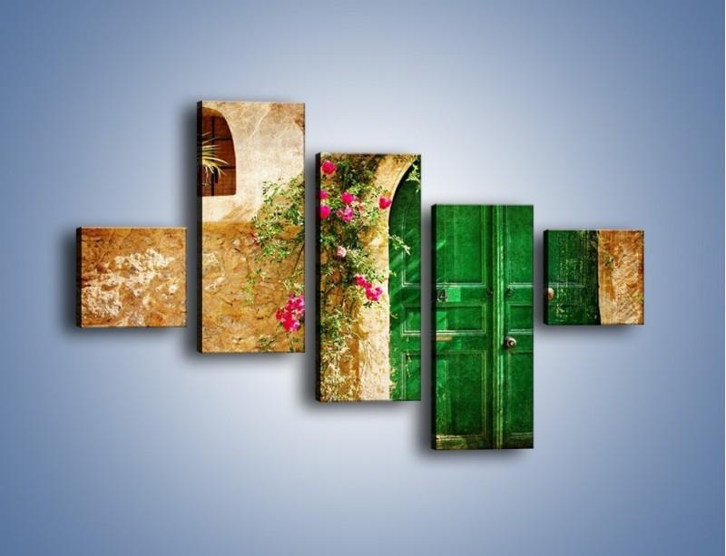 Obraz na płótnie – Drzwi w greckim domu vintage – pięcioczęściowy AM192W3