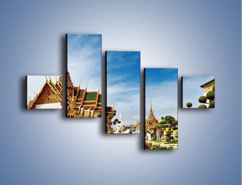 Obraz na płótnie – Tajska architektura pod błękitnym niebem – pięcioczęściowy AM197W3