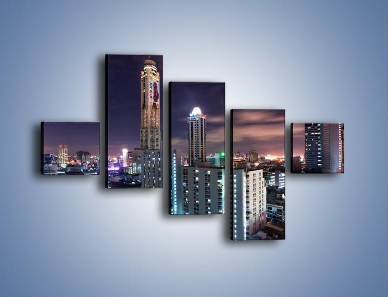Obraz na płótnie – Duże miasto nocą – pięcioczęściowy AM202W3